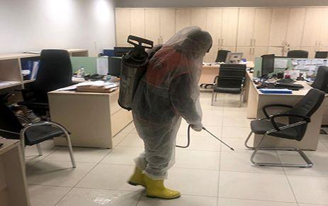 Büyükşehir'den bina dezenfektesi