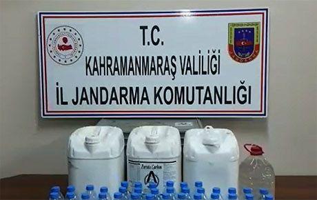 Kahramanmaraş'ta 44 litre kaçak içki ele geçirildi