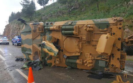 Kahramanmaraş'ta askeri araç devrildi
