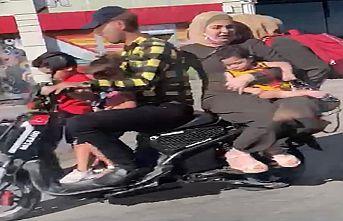 6 kişi motosiklete böyle bindi