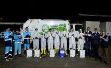 Dezenfekte yapanlardan Sağlık çalışanlarına destek