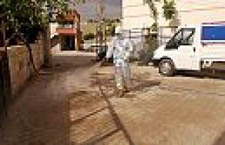 Karantinaya alınan mahallede dezenfekte