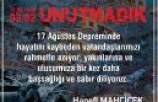 """MAHÇİÇEK """"ALLAH ÜLKEMİZİ TÜM FELAKETLERDEN..."""